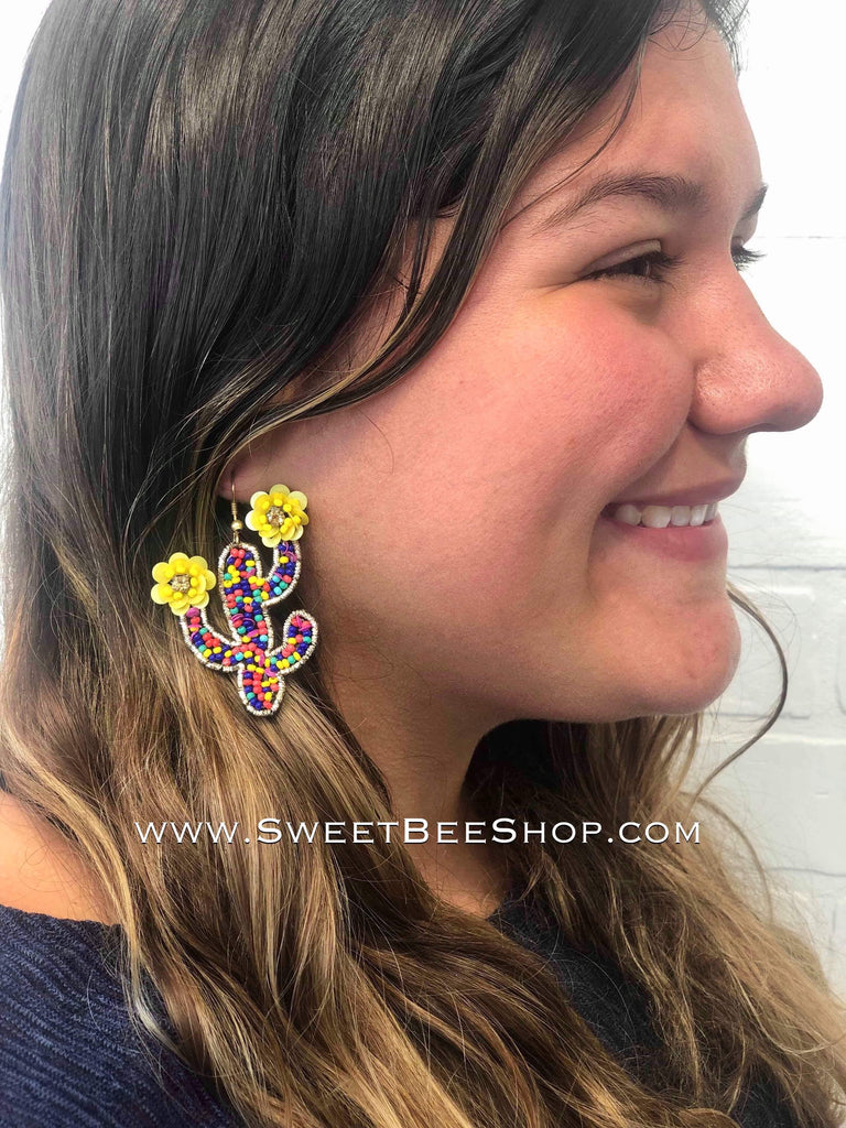 Shaped Beaded Earrings-jewlery-Sweet Bee Boutique