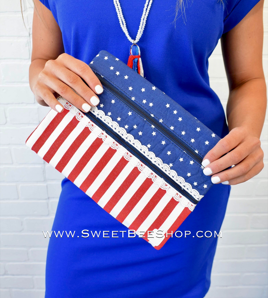 Sweet Land of Liberty Double Zipper Versi Bag-Bags & Purses-Sweet Bee Boutique