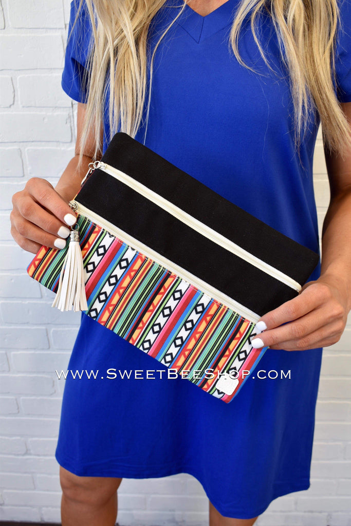 Weekend In Santa Fe Double Zipper Versi Bag-Bags & Purses-Sweet Bee Boutique