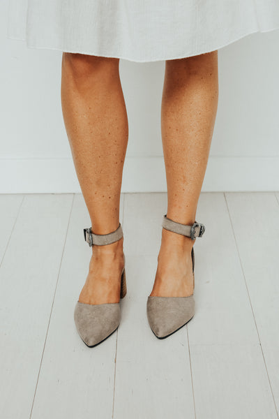 Women's grey ankle strap wood block heels