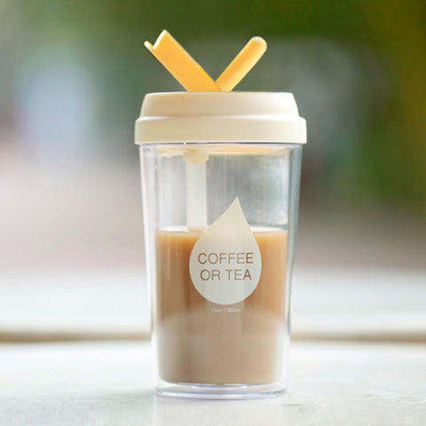 """Coffee or Tea"" Double Layer Plastic Cup w/ Straw"