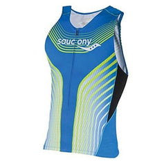 Saucony Triathlon Zip Tank Mens | Blue