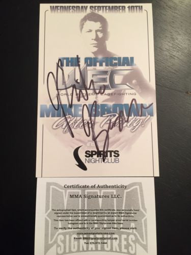 Mike Brown Signed Promo MMA COA Autograph Signed Champion UFC WEC