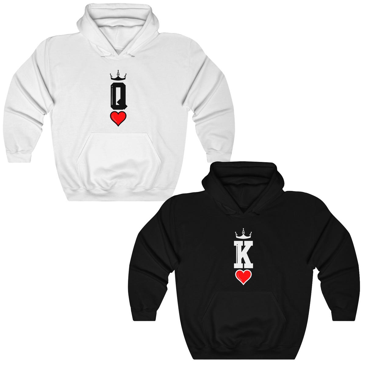 Queen & King Card Couples Hoodies