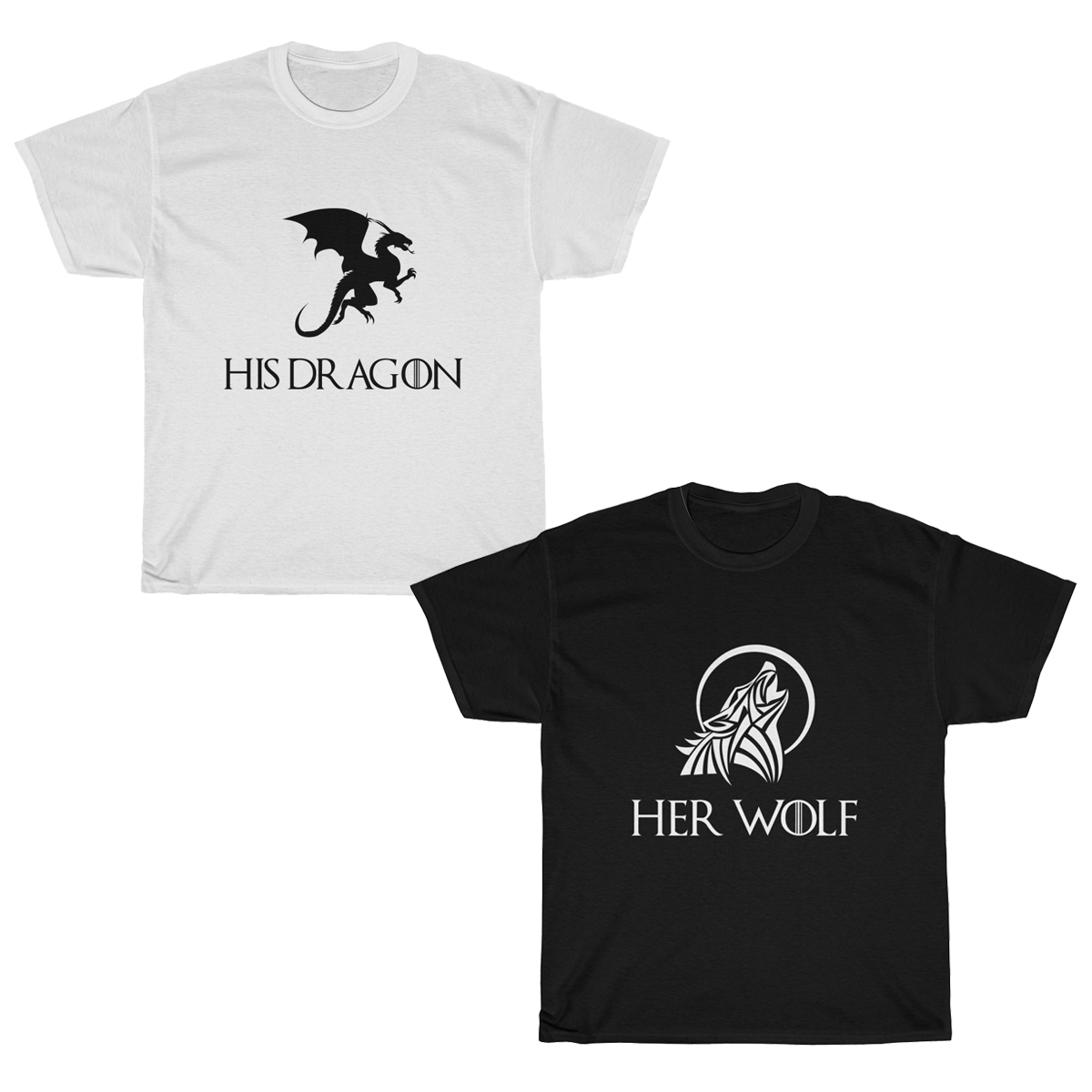 GOT Wolf & Dragon Couples T-Shirt Set
