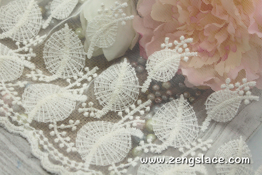 Ivory lace trim with leaves pattern lace embroidery/wedding dress lace/wedding lace/bridal lace/14 3/4 inches wide lace by the yard/EL-55