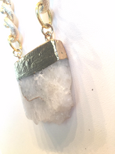 White Druzy Slab Chunky Gold Necklace (As seen in Gilded Magazine)