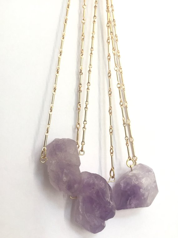 14k Gold Raw Amethyst Necklace