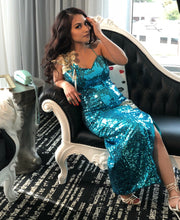 Vintage Glam Blue Sequin Flower Dress