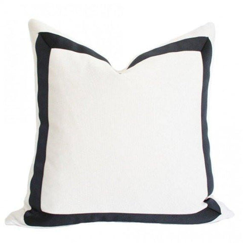 Solid White with Grosgrain Ribbon Border Custom Designer Pillow | Arianna Belle