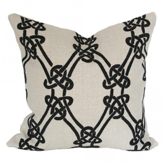 Gordian Weave Greige Custom Designer Pillow | Arianna Belle