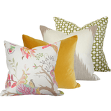 Sayre Opal, Golden Yellow Velvet, Mirasol Linen, & Betwixt Grass Custom Designer Pillow combo | Arianna Belle
