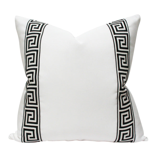 White with Black Greek Key Trim Custom Designer Pillow | Arianna Belle