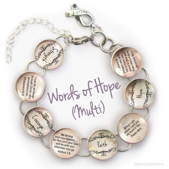 Words of Hope Scripture Pink or Neutral Glass Charm Bible Verse Bracelet
