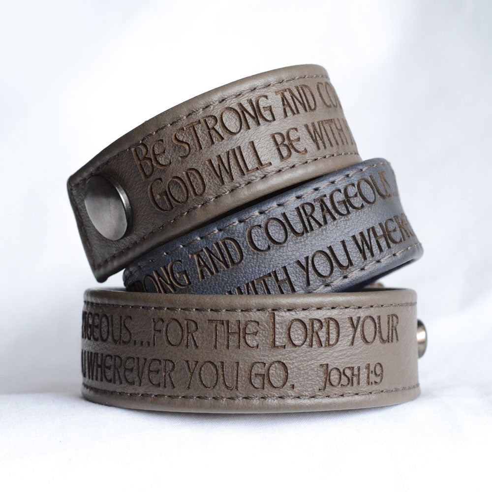 Be Strong and Courageous, Joshua 1:9 – Engraved Italian Leather Bracelet, Black or Brown