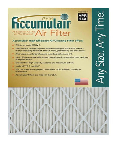 16.5x21x2 Accumulair Furnace Filter Merv 8
