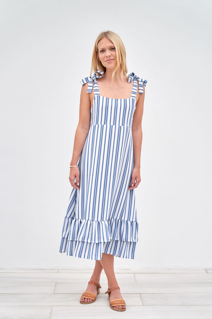 Clare Dress - Blue and White Stripe