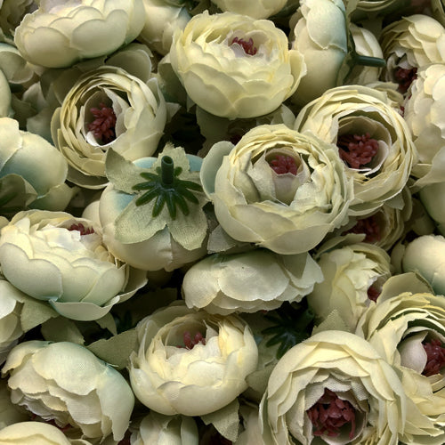 Artificial Silk Flower Heads - Lemon Sorbet Peony Style 46 - 5 Pack