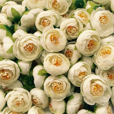 Artificial Silk Flower Heads - Off White Peony Style 18 - 5 Pack