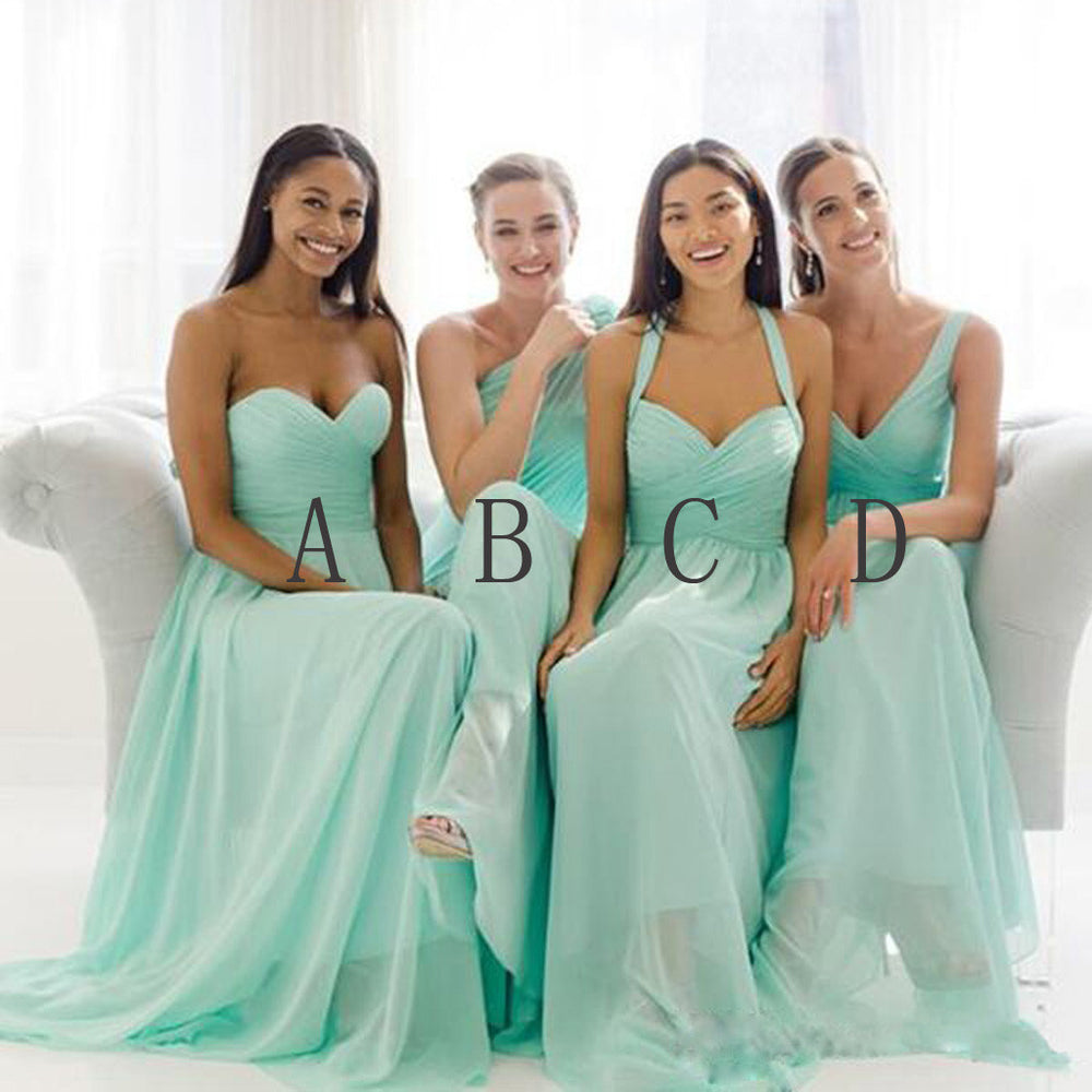 A Line Mismatched Mint Junior Simple Floor-length Bridesmaid Dresses, BG51285