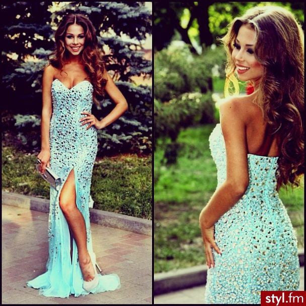 Blue Sexy Sparkly Side Split Sweet Heart Mermaid Long Prom Dress, BG51219