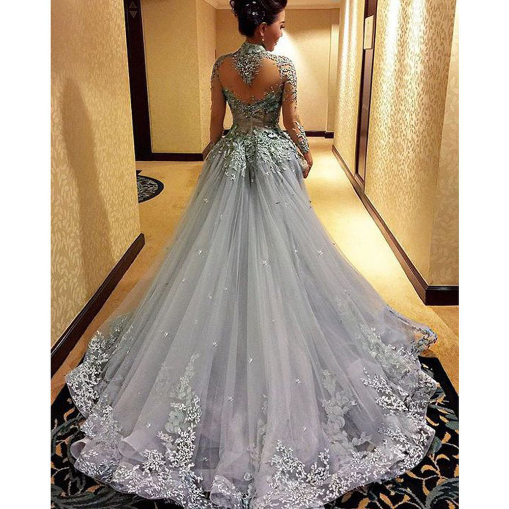 Charming High Neck Long Sleeve Grey Long Prom Dresses, BG51098