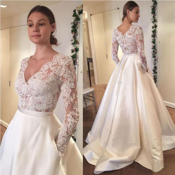 Long Sleeves Lace V Neck Elegant Inexpensive Long Wedding Dresses, BG51584 - Bubble Gown