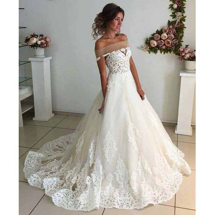 Affordable Lace Unique Off the Shoulder Online Charming Long Wedding Dresses, BG51585