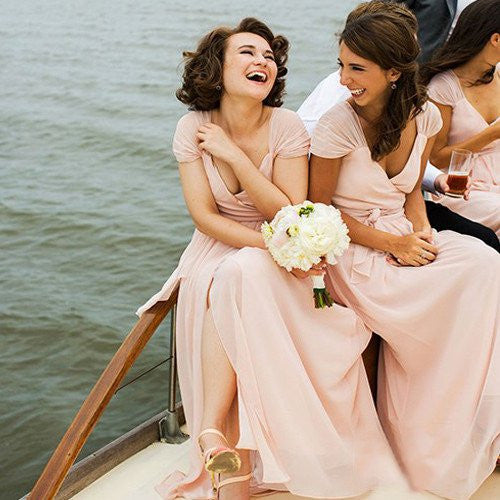 Cap Sleeves Chiffon Formal Side Slit Cheap Long Bridesmaid Dresses, BG51606 - Bubble Gown