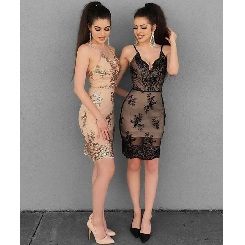 Spaghetti Strap Lace Applique Short Cheap Homecoming Dresses, BH131