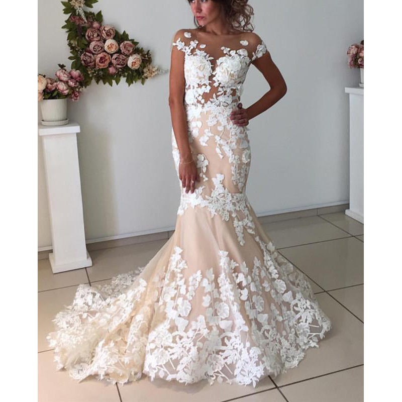 Affordable Cap Sleeves Mermaid Applique Bridal Long Wedding Dresses, BGP271