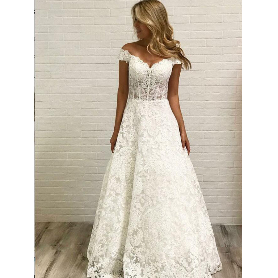 Cap Sleeve Lace A Line Formal Cheap Long Bridal Wedding Dresses, BGP253