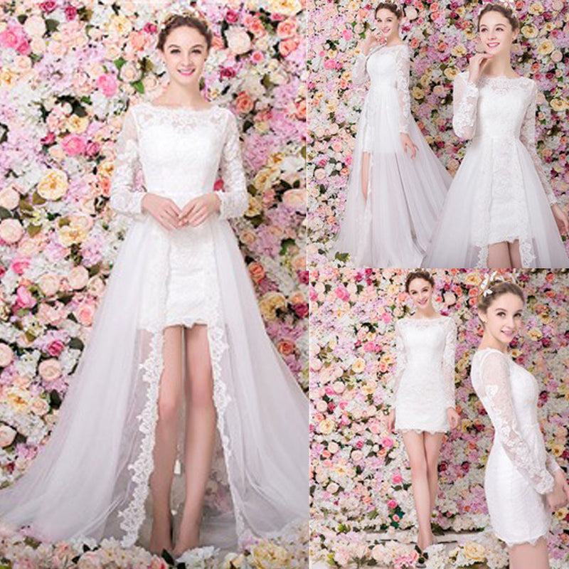 Popular Two Pieces Scoop Neck Long Sleeve Lace Tulle Wedding Party Dresses, WD0163