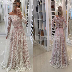 Long Lace Long Sleeves Lovely Pretty Modest Prom Dresses, Evening dress, party dresses, PD0457
