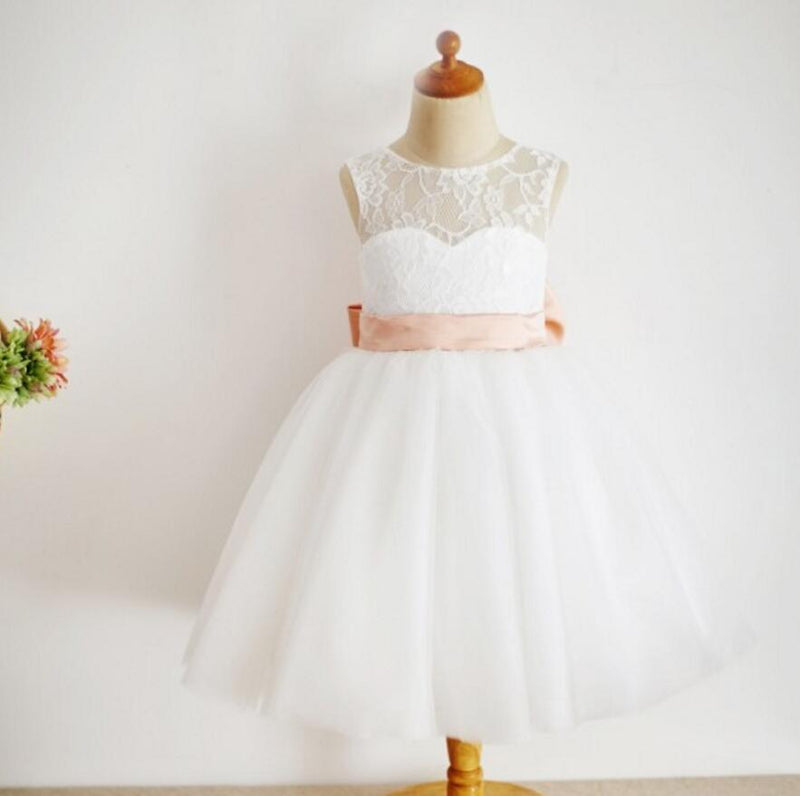 Lovely Illusion Lace Top Tulle Flower Girl Dresses with Knot Bow, Little Girl Dresses, FG082
