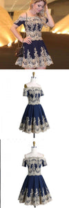 A-Line Off-the-Shoulder Short Sleeves Appliques Navy Blue Homecoming Dresses ,BD0255