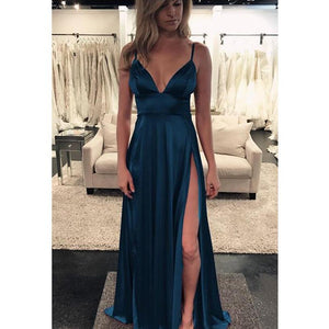 A-Line Spaghetti Straps Cheap Custom Simple Sexy Prom Dresses with Split , PD1222