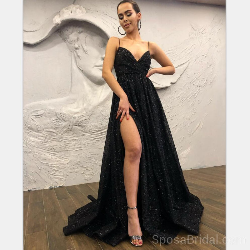 Black Chamring Spaghetti Strap Side Slit Sparkly Sequin Modest Cheap Elegant Formal Long Prom Dresses, PD1218