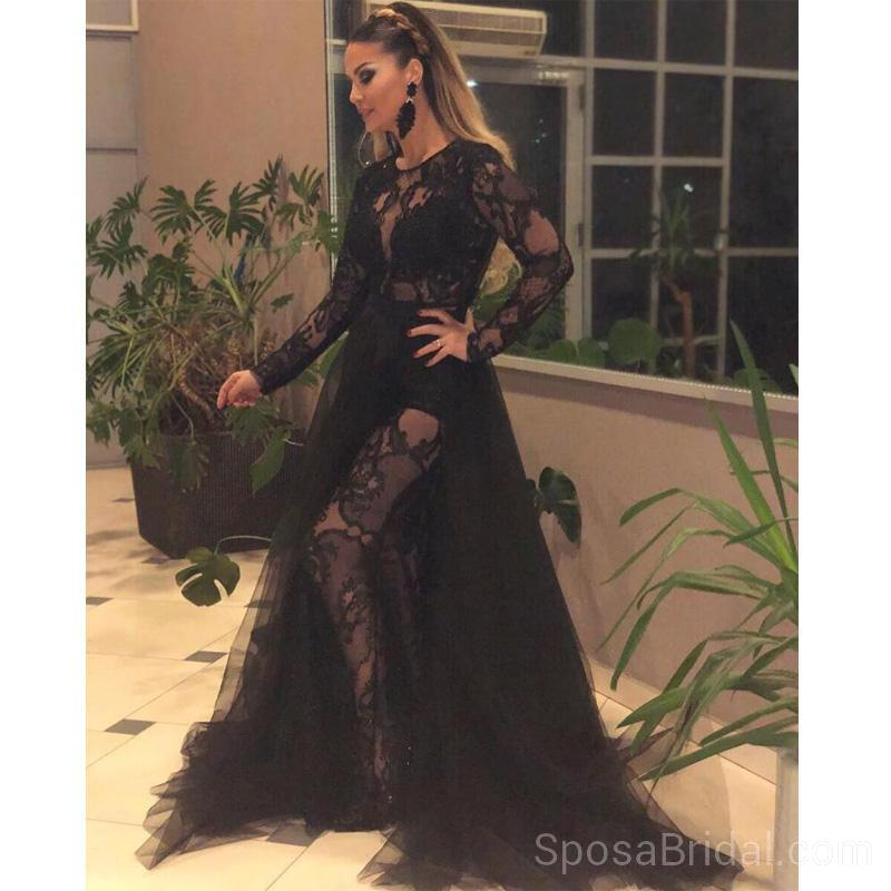 Black Long  Sleeves Lace Tulle Modest Hot Sexy Elegant Long Prom Dresses online, PD1219