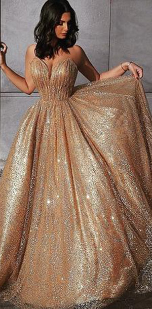 Charming Spaghetti  Straps Sequin Sparkly Custom Modest Simple Popular Unique Long Prom Dresses, PD1272