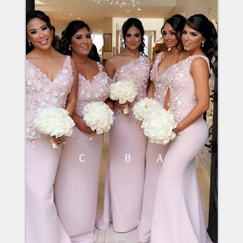 Mermaid Pink V-Back Mismatched Modest Bridesmaid Dresses with Appliques ,WG390