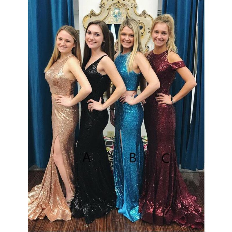 Mermaid Style V-Neck Sweep Train Black Blue Sparkly Sequined Elegant Long Prom Dresses, PD1238