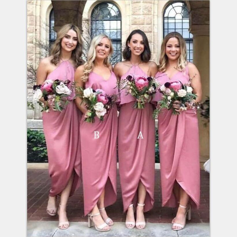 Mismatched  Soft Cheap Unique Desigh Modest  Pink Bridesmaid Dress with Ruffles  ,WG389