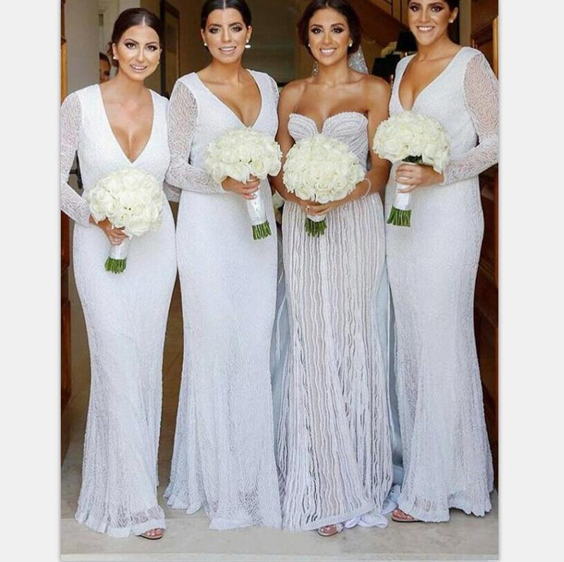 Modest Long Sleeves Sheath V-Neck Long Fulle White Lace Bridesmaid Dresses  ,  WG386