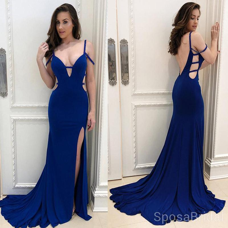 Modest Sexy Mermaid Blue  Elegant Unique Popular Long Prom Dresses, PD1276