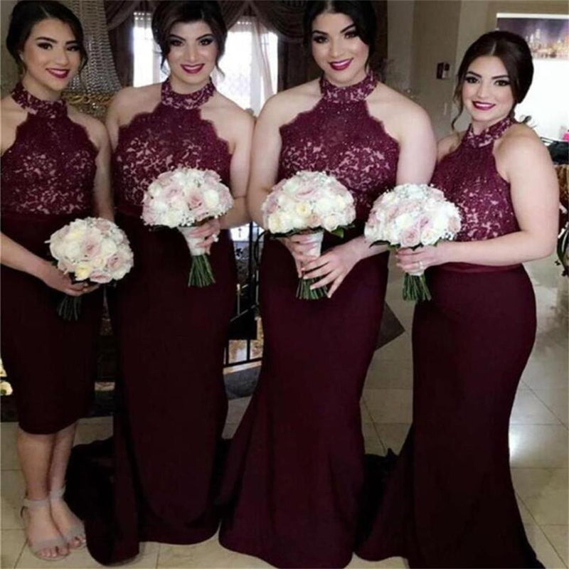 Long Mermaid Burgundy Lace Top High Neck Bridesmaid Dresses , Wedding Guest Dresses , PD0262