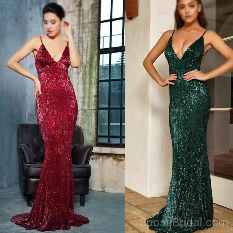 Sequin Sparkly Mermaid Sexy Stunning Spaghetti Straps Elegant Popular Long Prom Dresses, PD1216