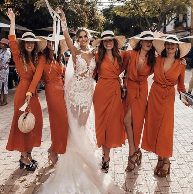 Soft Cheap V-Neck Long Sleeves Floor Length Orange Chiffon Bridesmaid Dresses ,WG384