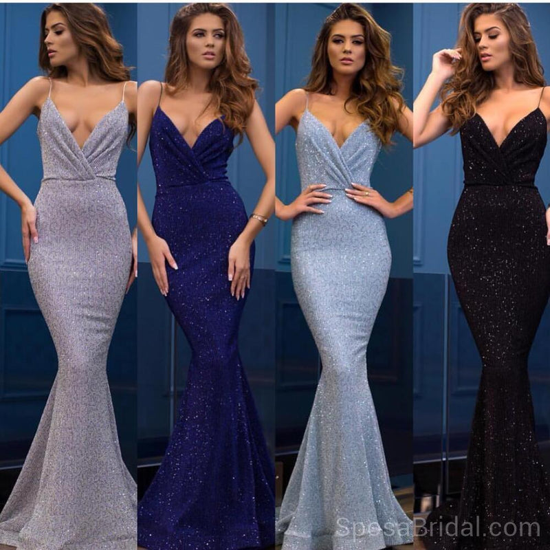 Spaghetti Straps Mermaid V -Neck Custom Long Elegant Sequin Fashion Prom Dresses, PD1214