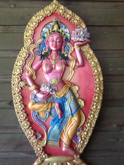 Goddess Tibetan Traditional Offering (pink/red) 3d wall plaque